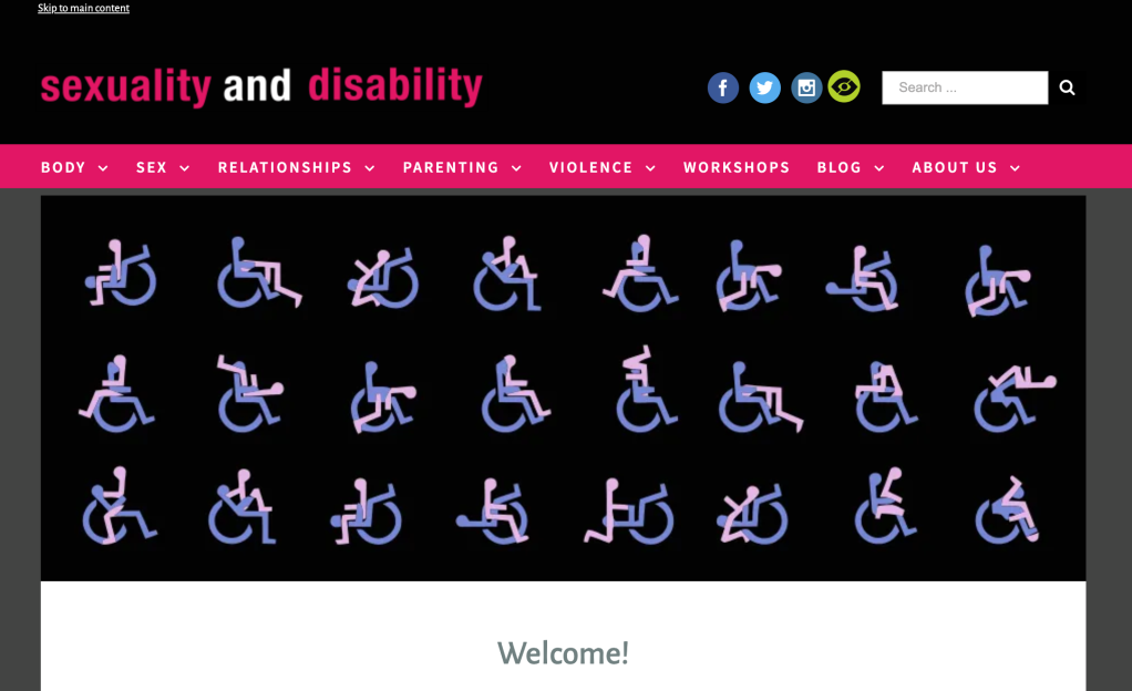 Image depicts the webpage described in the post, Sexuality and Disability.